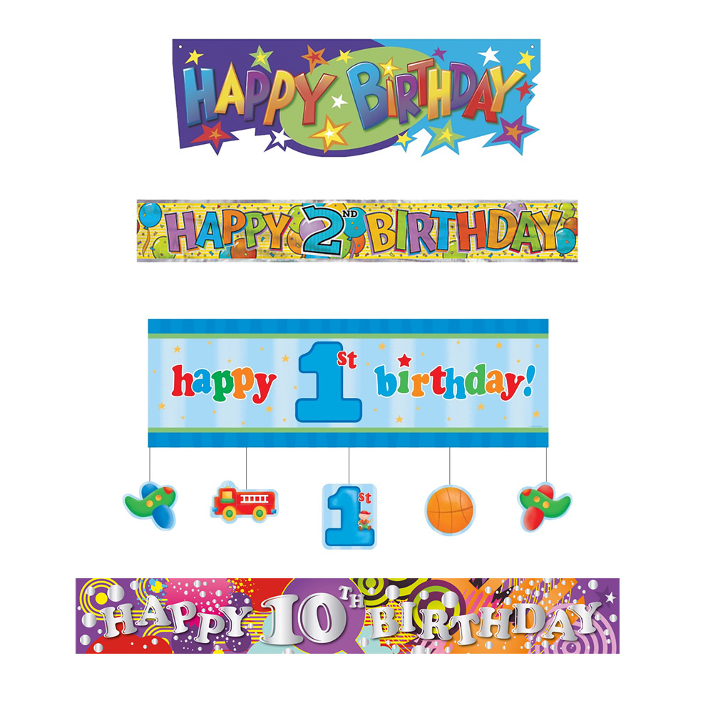 Party Banners | party supplies, foil balloons, balloon accessories